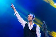 KYIV UKRAINA, CZERWIEC, - 21: Svyatoslav Vakarchuk na koncercie Okea Zdjęcie Stock