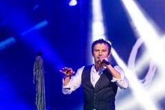 KYIV UKRAINA, CZERWIEC, - 21: Svyatoslav Vakarchuk na koncercie Okea Obrazy Stock