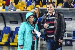 KYIV UKRAINA - FEBRUARI 24, 2016: Ligalek för UEFA Championes med dynamo Kyiv och Manchester City FC Arkivfoton