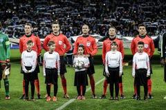 KYIV UKRAINA - FEBRUARI 24, 2016: Ligalek för UEFA Championes med dynamo Kyiv och Manchester City FC Arkivbild