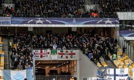 KYIV UKRAINA - FEBRUARI 24, 2016: Ligalek för UEFA Championes med dynamo Kyiv och Manchester City FC Royaltyfri Bild