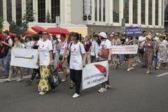 Kyiv Ukraina Juni 23, 2019 Den ?rliga Pride Parade LGBT Inskriften könsbestämmer arbetare är inte perversa män fotografering för bildbyråer