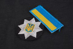 KYIV UKRAINA, LISTOPAD, - 22, 2016: Łata i odznaka policja narodowa Ukraina Policja Narodowa Ukraina munduruje Fotografia Royalty Free