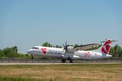 KYIV UKRAINA - MAJ 26, 2018: Foto av en CSA - Czech Airlines flygplanflygbuss A319-112, som är chartern eller stamgästen Royaltyfri Foto