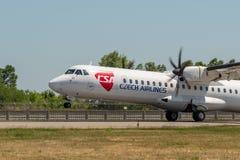 KYIV UKRAINA - MAJ 26, 2018: Foto av en CSA - Czech Airlines flygplanflygbuss A319-112, som är chartern eller stamgästen Royaltyfri Bild