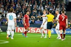 KYIV UKRAINA, MAJ, - 26, 2018: Futbolista podczas 2018 UEFA Ch fotografia stock