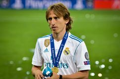KYIV UKRAINA, MAJ, - 26, 2018: Luka Modric Real Madrid celebra Obraz Royalty Free