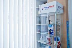 KYIV UKRAINA - MARS 24, 2018: Lodisar för apotek för tabell för lager för Ð-¡ ounter Royaltyfria Foton