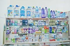 KYIV UKRAINA - MARS 24, 2018: Lodisar för apotek för tabell för lager för Ð-¡ ounter Royaltyfri Bild