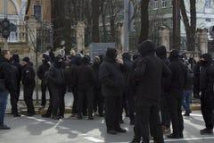 Kyiv Ukraina - 23 Marzec 2019: polityczny protest przeciw rzędowi w centre kapitał Ukraina obraz stock