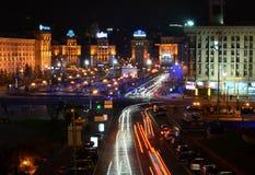 KYIV UKRAINA - NOVEMBER 10: Nattpanorama av Mai Arkivbilder