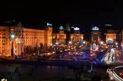 KYIV UKRAINA - NOVEMBER 10: Nattpanorama av Mai Arkivbild