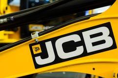 Kyiv Ukraina - November 8, 2018: Jcb-logo på tungt maskineri royaltyfri bild