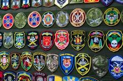 Kyiv Ukraina - Oktober 10, 2018: Ukrainska militära lappar Internationella utställningARMAR OCH SÄKERHET 2018 arkivfoto