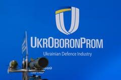 Kyiv Ukraina - Oktober 10, 2018: UkrOboronProm logo Internationella utställningARMAR OCH SÄKERHET 2018 royaltyfri bild