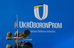 Kyiv Ukraina - Oktober 10, 2018: UkrOboronProm logo Internationella utställningARMAR OCH SÄKERHET 2018 royaltyfria foton