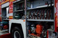 Kyiv Ukraina - Oktober 10, 2018: Utrustning för brandlastbil Internationella utställningARMAR OCH SÄKERHET 2018 royaltyfri fotografi