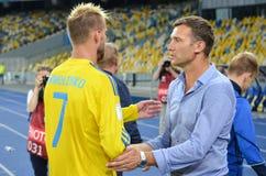 KYIV UKRAINA - SEPT 5, 2016: Andriy Yarmolenko och Andriy Shevc royaltyfria bilder