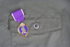KYIV UKRAINA, Sierpień, - 1, 2016 Purple Heart nagroda na wojsko usa oliwnej zieleni mundurze zdjęcia royalty free