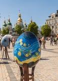 KYIV, UKRAINA: Ukraiński festiwal Wielkanocni jajka na th (Pysanka) Obraz Stock