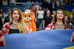 KYIV UKRAINA, Wrzesień, - 14 2018: Czerwonych lisów tana Olimpijska drużyna obraz royalty free