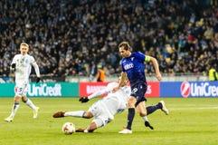 UEFA Europa League football match Dynamo Kyiv – Lazio, March 1. Kyiv, Ukraine – March 15, 2018: Artem Besedin of Dynamo Kyiv fighting for the ball royalty free stock image