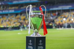 Champions League Cup. KYIV, UKRAINE – 26 MAY, 2018: Champions League Cup during the final match UEFA Champions League between Liverpool and Real Madrid stock images
