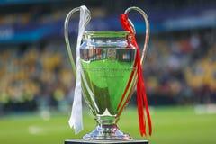 Trophy Cup UEFA Champions League. KYIV, UKRAINE – 26 MAY, 2018: Trophy Cup UEFA Champions League during the final match UEFA Champions League between royalty free stock photos