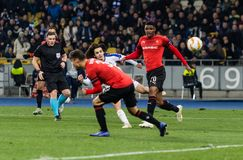 Kyiv, Ukraine – November 8, 2018: Mykola Shaparenko scores a goal during UEFA Europe League match Dynamo Kyiv – Stade Rennais royalty free stock images