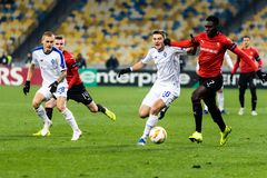 Kyiv, Ukraine – November 8, 2018: Players in action during UEFA Europe League match Dynamo Kyiv – Stade Rennais at NSC Olympic stock image