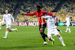 Kyiv, Ukraine – November 8, 2018: Players in action during UEFA Europe League match Dynamo Kyiv – Stade Rennais at NSC Olympic stock images