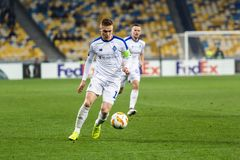 Kyiv, Ukraine – November 8, 2018: Viktor Tsygankov controls the ball during UEFA Europe League match Dynamo Kyiv – Stade stock photos