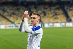 Kyiv, Ukraine – November 8, 2018: Viktor Tsygankov portrait during UEFA Europe League match Dynamo Kyiv – Stade Rennais at NSC stock photos