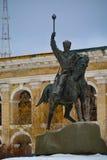 KYIV/UKRAINE - 2015年1月10日:对Sahaidachnyi司令官的纪念碑 免版税库存图片