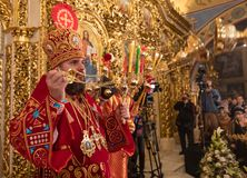Primate of the Ukrainian Orthodox Church Epifaniy. KYIV, UKRAINE - Apr. 28, 2019: Primate of the Ukrainian Orthodox Church Epifaniy took part in the Easter stock photography