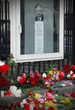 KYIV, UKRAINE-APRIL 10: Mourning flowers. KYIV, UKRAINE-APRIL 10: Poland's President killed in plane crash. Mourning flowers near Embassy of Poland in Ukraine Royalty Free Stock Images