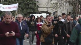 Kyiv, Ukraine 9. April 2019 Aktivisten und Anhänger der politischen Partei des nationalen Korps nehmen an einer Sammlung teil, um stock video footage