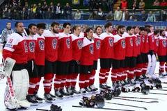 Ice Hockey 2017 World Championship Div 1 in Kyiv, Ukraine. KYIV, UKRAINE - APRIL 25, 2017: Austrian players listen to National anthem after the IIHF 2017 Ice Royalty Free Stock Photos