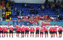 Ice Hockey 2017 World Championship Div 1 in Kyiv, Ukraine. KYIV, UKRAINE - APRIL 25, 2017: Austrian players thank fans after the IIHF 2017 Ice Hockey World Royalty Free Stock Image