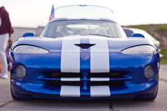 Kyiv, Ukraine - 23 APRIL, 2016: Blue Dodge Viper on exhibition of old cars - OldCarLand 2016 Royalty Free Stock Photo