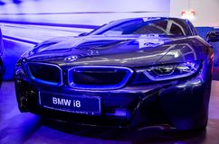 Kyiv, Ukraine - April 12, 2019: BMW i8 at the exhibition stock photography