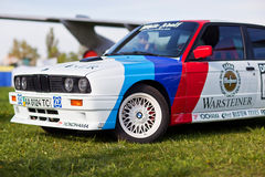 KYIV, UKRAINE - April 22, 2016: Car BMW e30 M3 at festival of vintage cars OldCarLand-2016 in Kiev. Side view, in front.  Royalty Free Stock Image