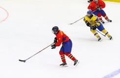 IIHF 2018 Ice Hockey U18 World Championship Div 1B. KYIV, UKRAINE - APRIL 20, 2018: Cristian BOLDIZSAR of Romania on ice during the IIHF 2018 Ice Hockey U18 stock photography