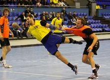 Handball game Ukraine vs Netherlands Royalty Free Stock Image
