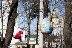 KYIV. UKRAINE - APRIL 05, 2017: Easter festival in Kyiv on Sofiyvska Square. Artists display painted rabbits, Easter eggs. Near royalty free stock photos