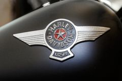 Logo of Harley Davidson motorcycles on a fuel tank Royalty Free Stock Image