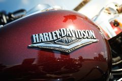 Logo of Harley Davidson motorcycles on a fuel tank Stock Photo