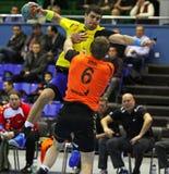 Handballspiel Ukraine gegen die Niederlande Stockfotografie