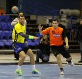 Handballspiel Ukraine gegen die Niederlande Stockbilder