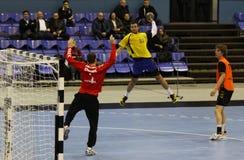 Handballspiel Ukraine gegen die Niederlande Lizenzfreies Stockfoto